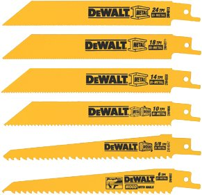 DEWALT DW4856 Metal or Woodcutting Reciprocating Saw Blade Set, 6-Piece