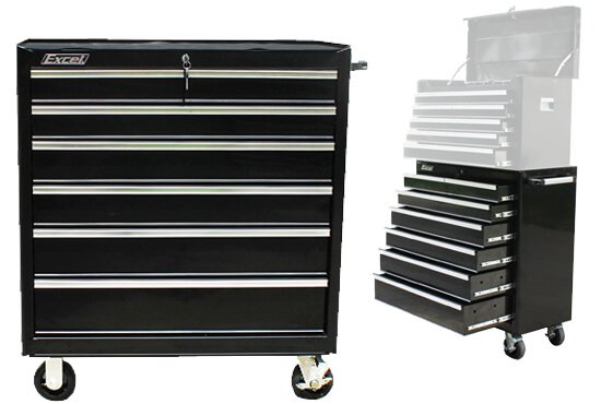 Excel TB2608X-Black 36-Inch Roller Metal Tool Cabinet with 6 BBS Drawers
