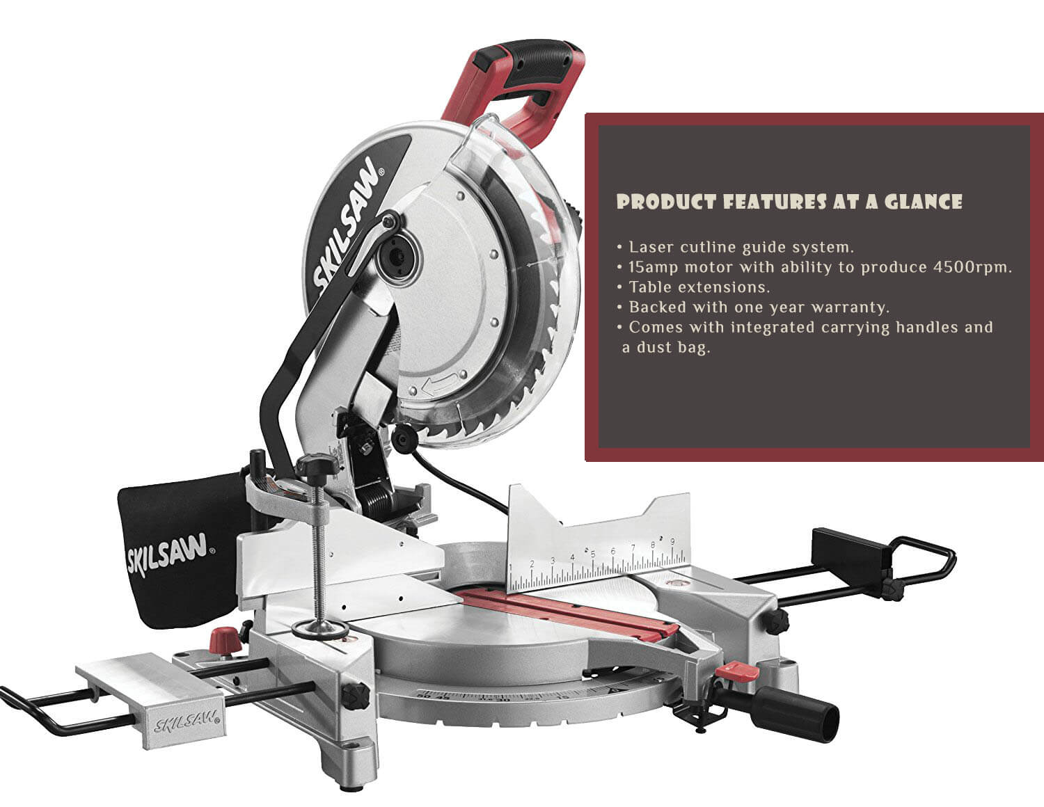Skil 3821 01 12 inch 15 amp corded compound miter saw with quick others will fall apart for no reason while other are just not powerful enough if you are looking for the best miter saw that would do none of these greentooth Images