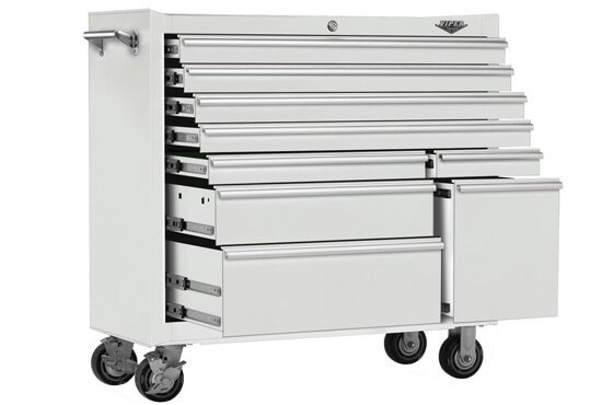 Viper Tool Storage V4109WHR 41-Inch 9-Drawer 18G Steel Rolling Tool Cabinet, White
